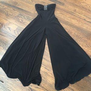 Jovani size 8 prom wide legs black stretch EUC